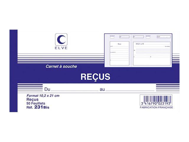 ELVE - Manifold Carnet de reçus - 50 dupli - 10,5 x 21 cm