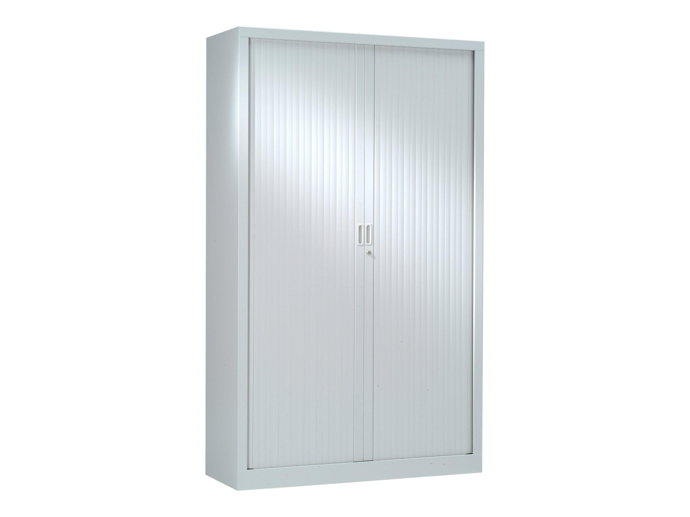 Armoire haute monobloc à rideaux GENERIC - 198 x 120 x 43 cm - gris