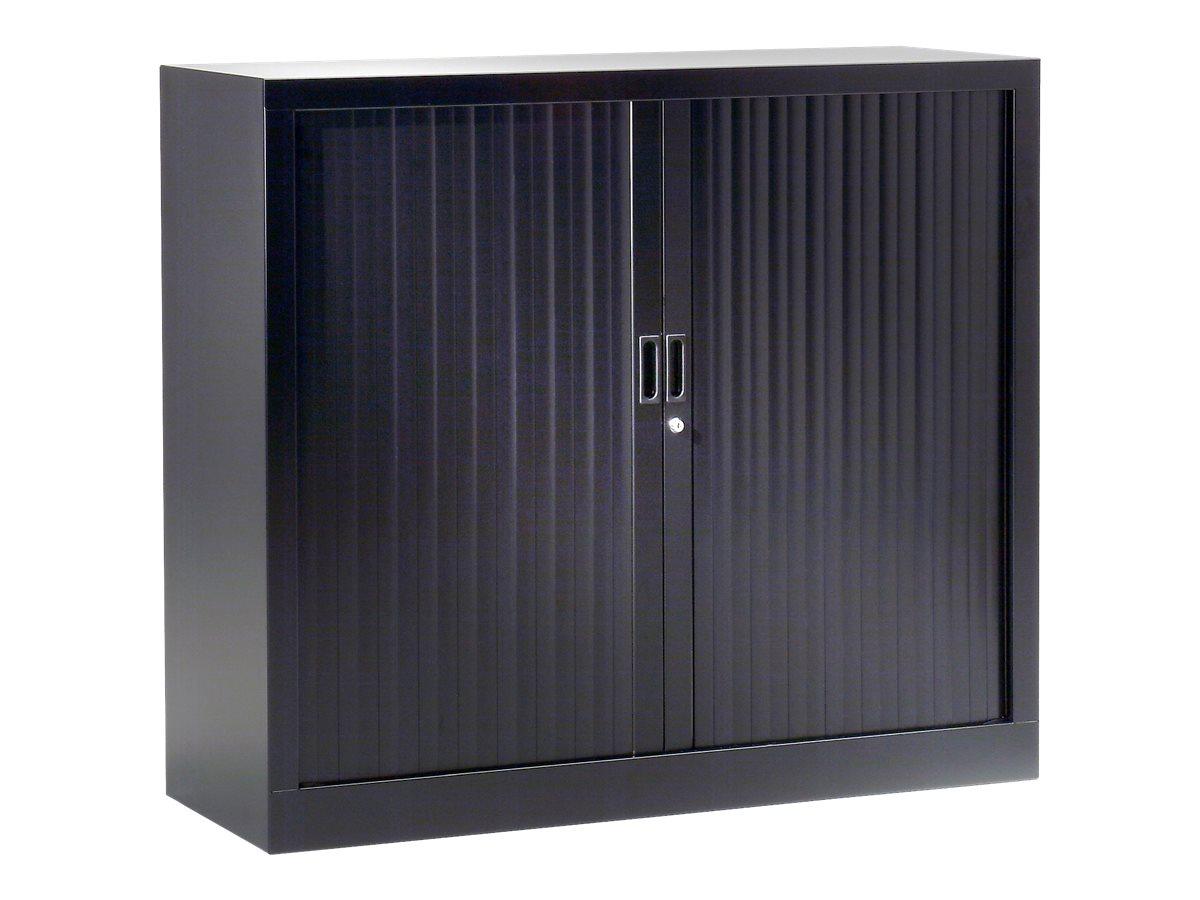 Armoire basse monobloc à rideaux GENERIC - 100 x 120 x 43 cm - noir