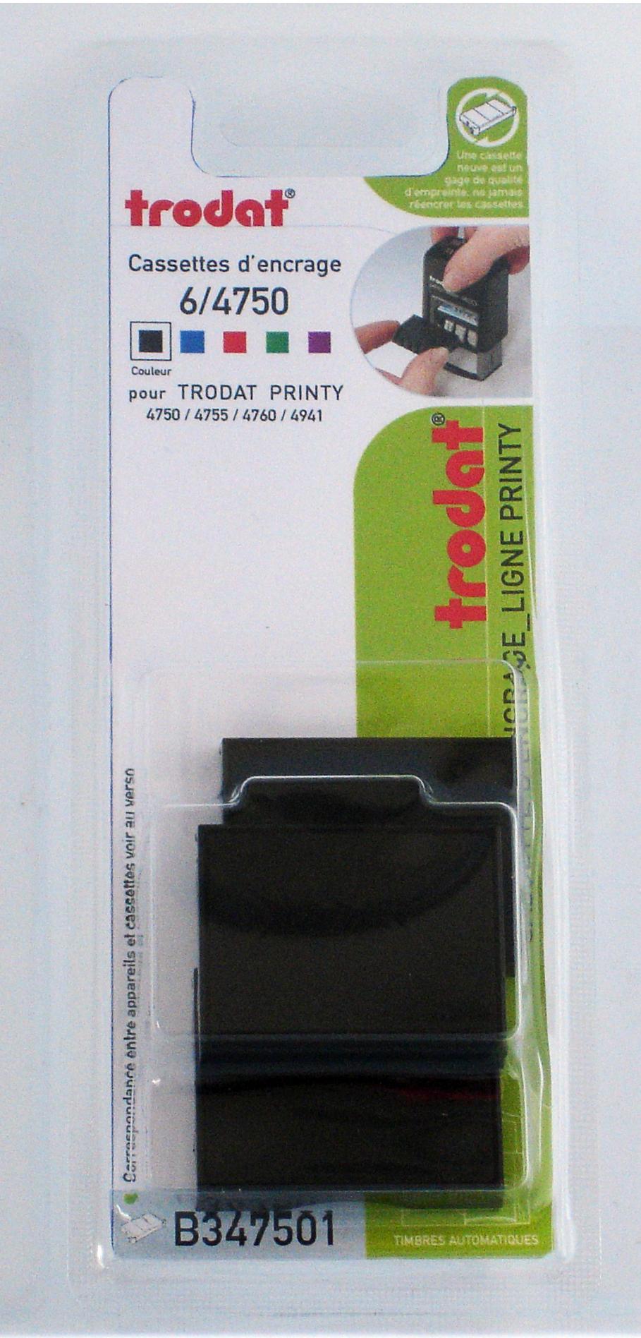 Trodat - 3 Encriers 6/4750 recharges pour tampon Printy 4941/4750 - noir