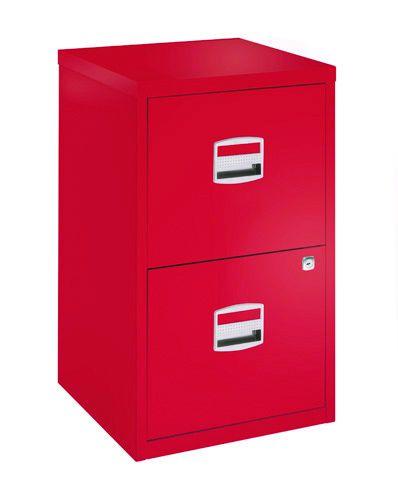 Classeur métallique monobloc - 2 tiroirs - H67 x L41 x P40 cm - rouge