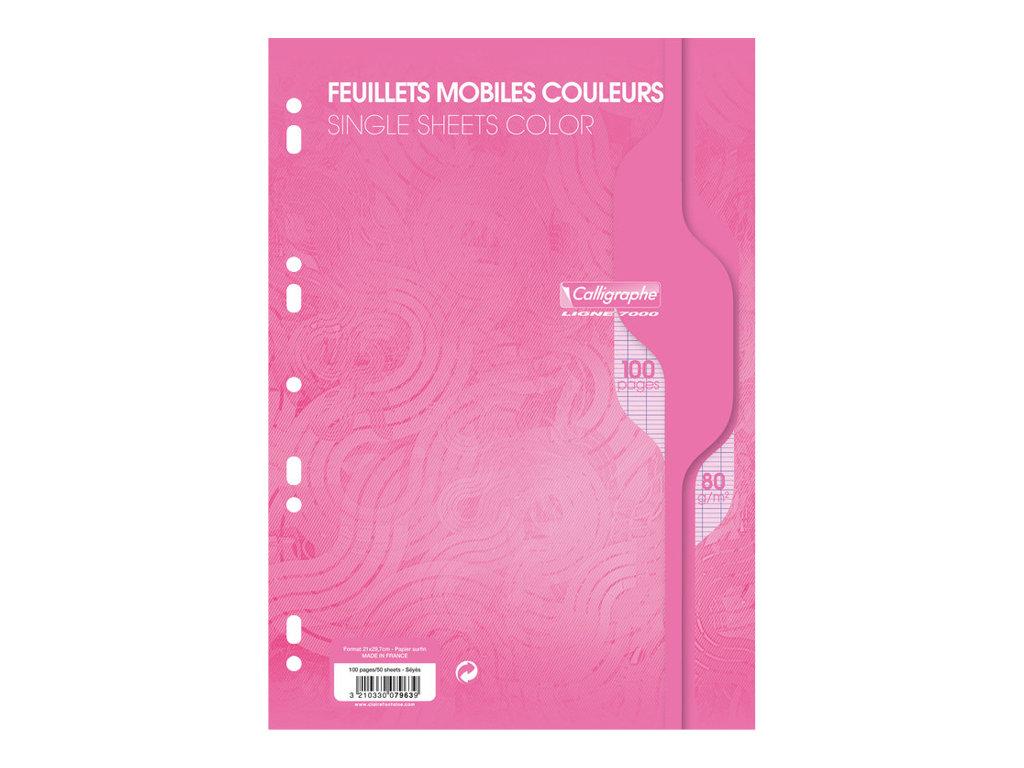 Calligraphe - 100 feuilles simples A4 - grands carreaux - perforées - rose
