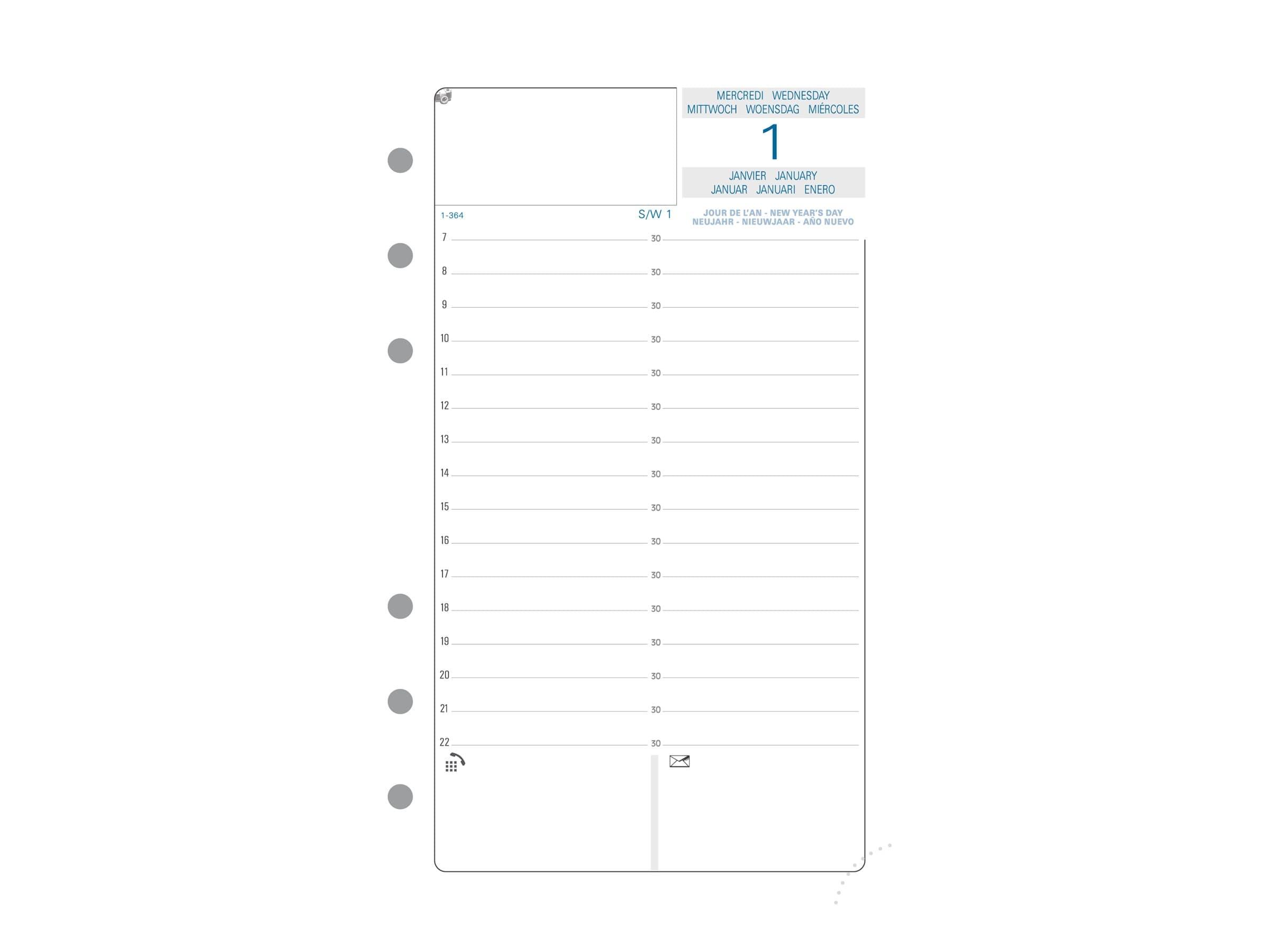 Exacompta Exatime 17 - Recharge pour organiseur - 1 jour par page - 10,5 x 17,2 cm