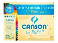 Canson - Pochette papier à dessin - 8 feuilles - A3 - 160 gr - couleurs pastel