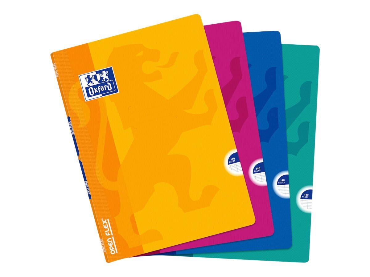 Oxford Openflex - Cahier polypro A4 (21x29,7 cm) - 140 pages - grands carreaux (Seyes) - disponible dans différentes couleurs