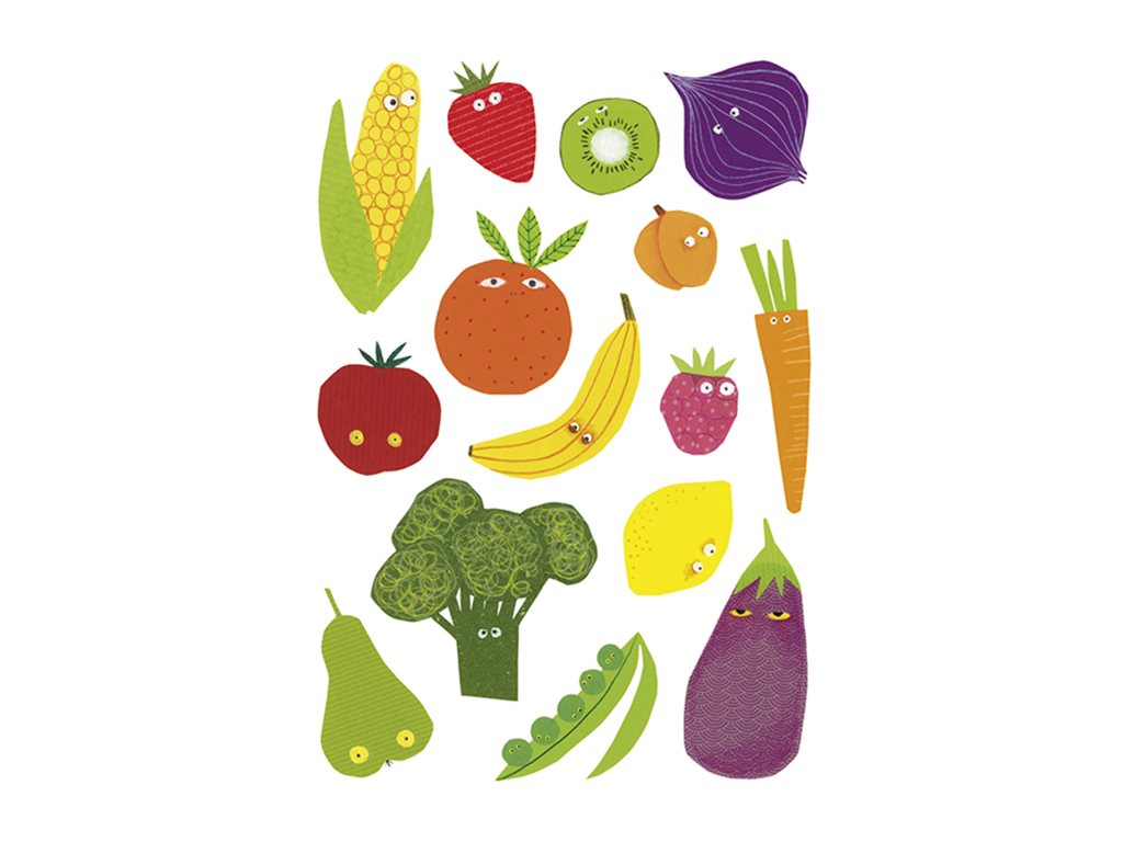 Maildor - 6 feuilles gommettes fruits et légumes