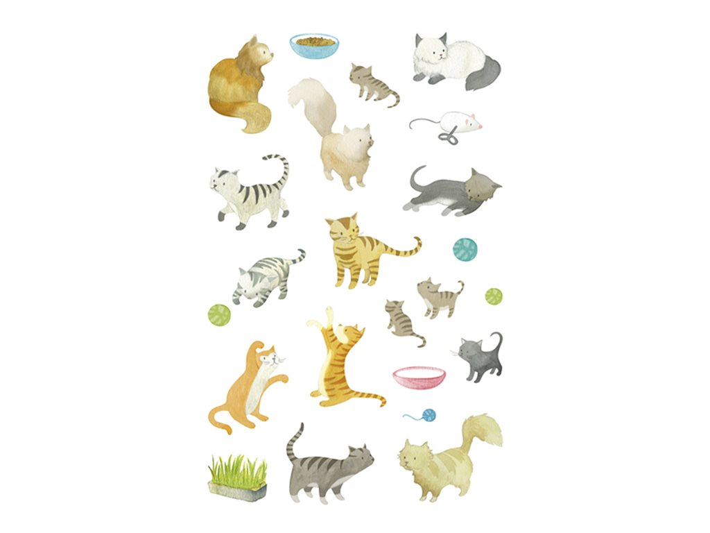 Maildor - 4 feuilles gommettes chats