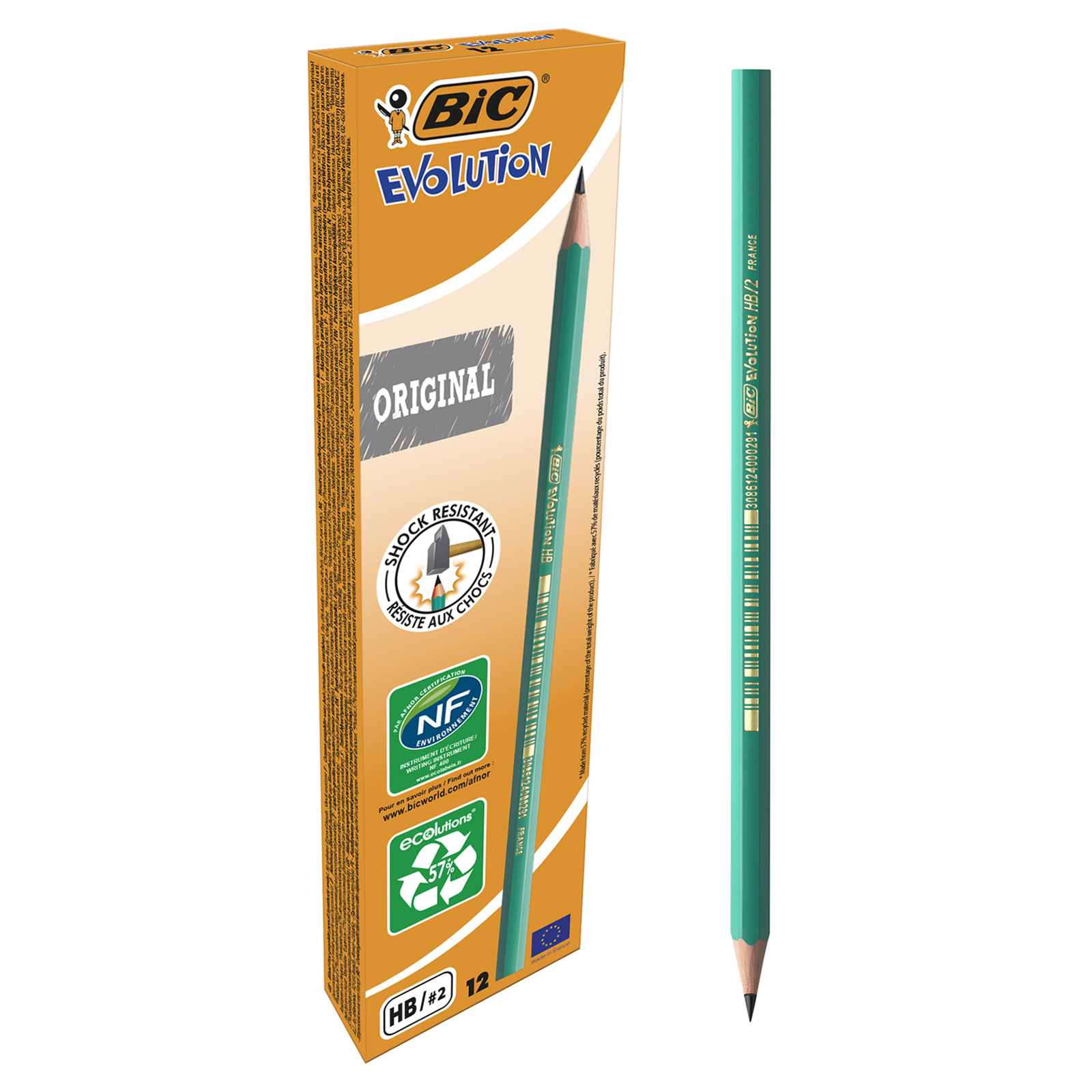 BIC ECOlutions EVOLUTION 650 - Pack de 12 Crayons à papier - HB