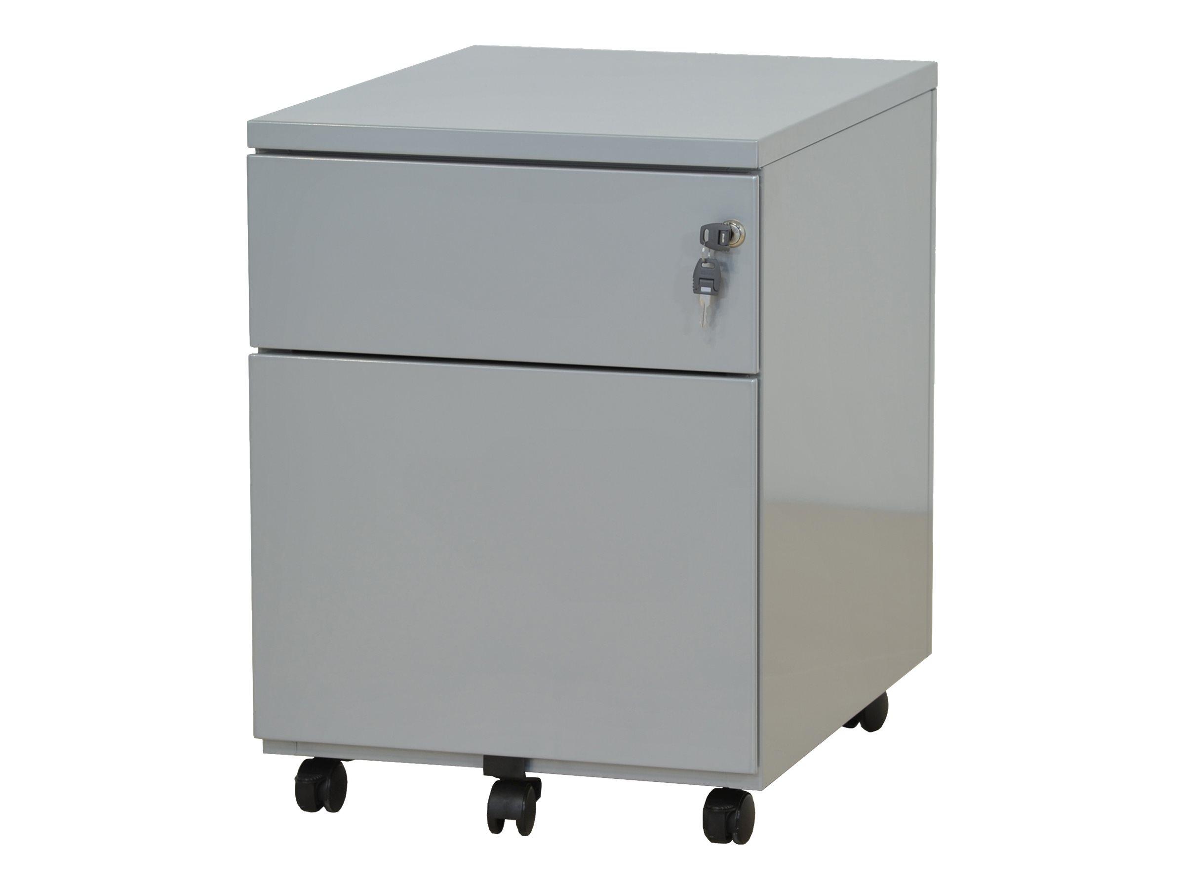 Caisson mobile - 2 tiroirs - aluminium - 56,7 x 54,1 x 41,8 cm