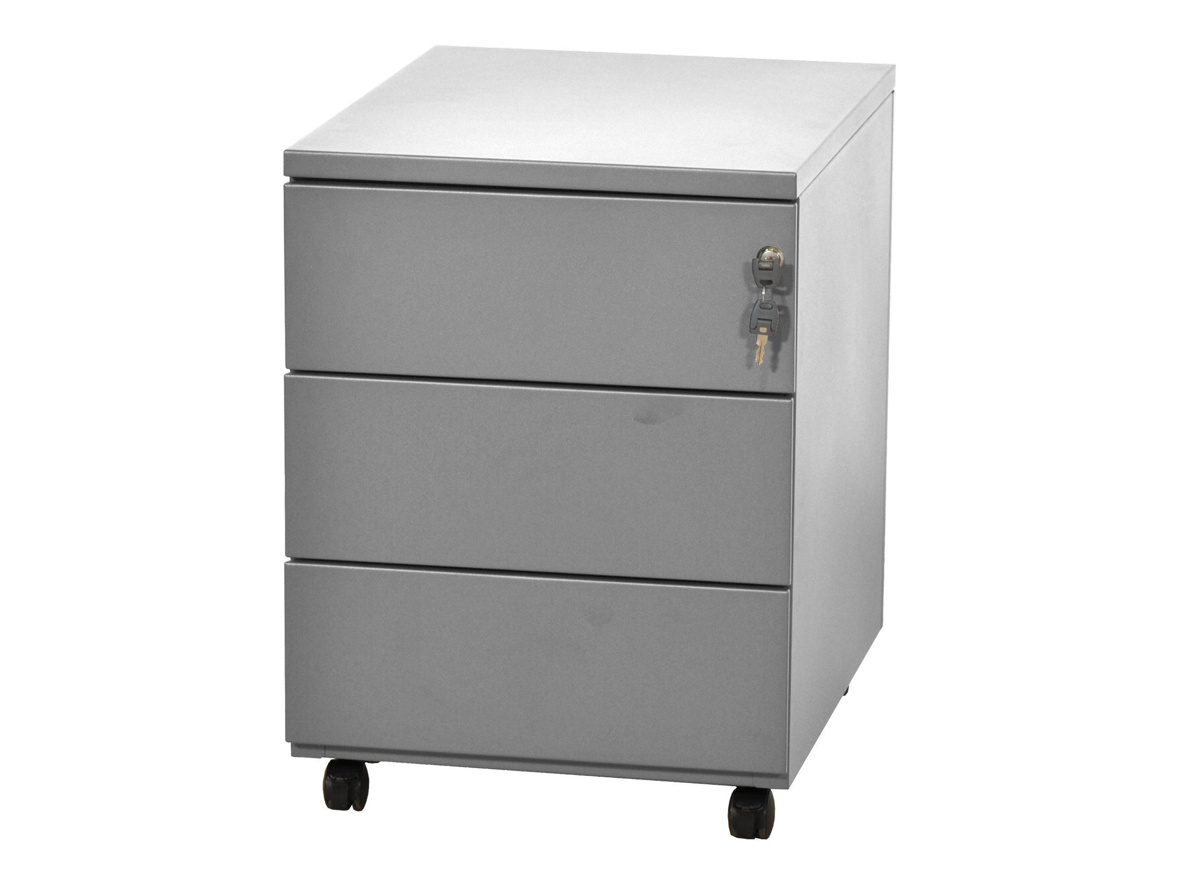 Caisson mobile - 3 tiroirs - aluminium - 56,7 x 54,1 x 41,8 cm