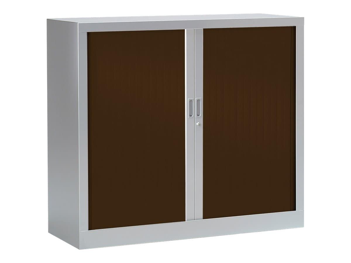 Armoire basse monobloc à rideaux GENERIC - 100 x 120 x 43 cm - aluminium/imitation wengé