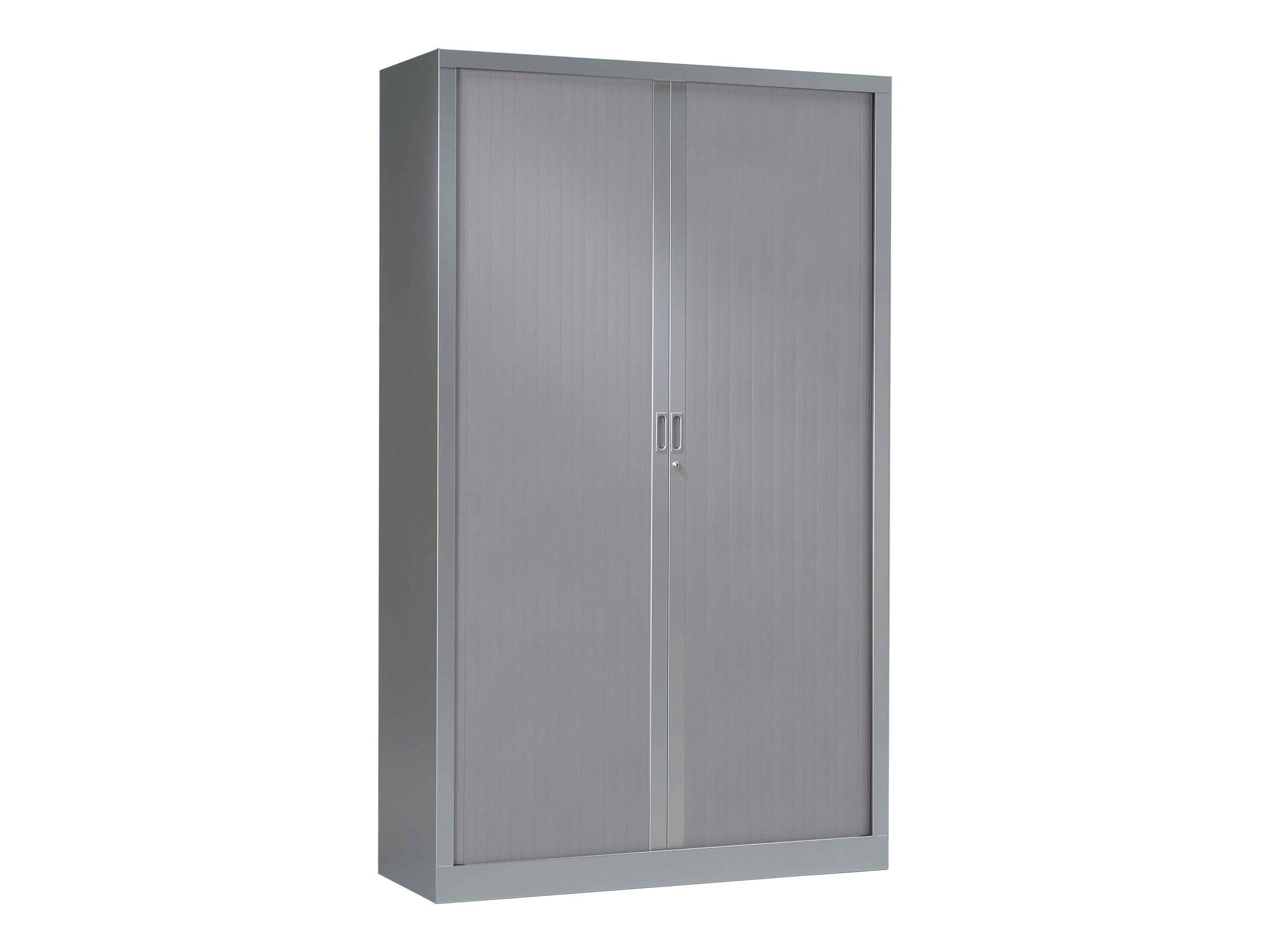Armoire haute monobloc à rideaux GENERIC - 198 x 120 x 43 cm - aluminium