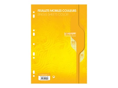 Calligraphe - 100 feuilles simples jaune grands carreaux A4 perforées