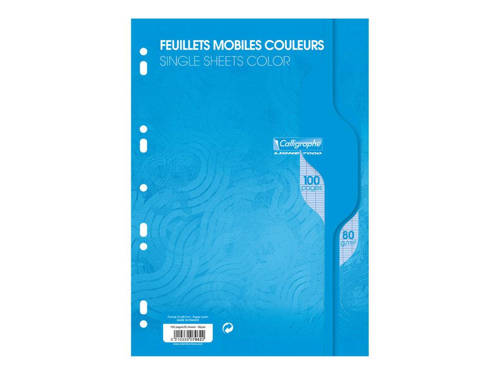 Calligraphe - 100 feuilles simples A4 - grands carreaux - perforées - bleu