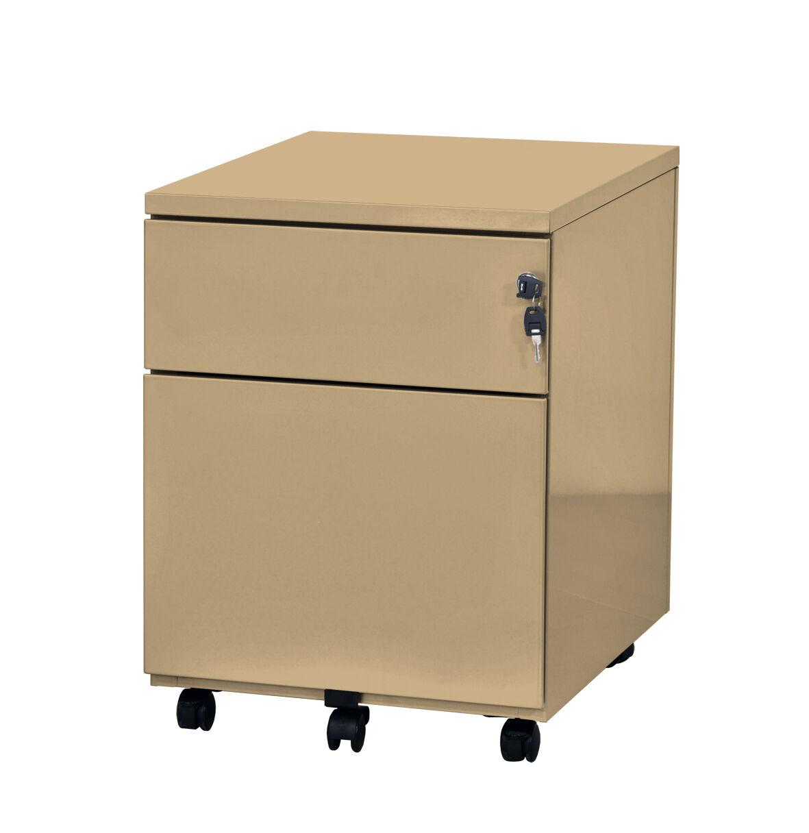 Caisson mobile - 2 tiroirs - beige - 56,7 x 54,1 x 41,8 cm