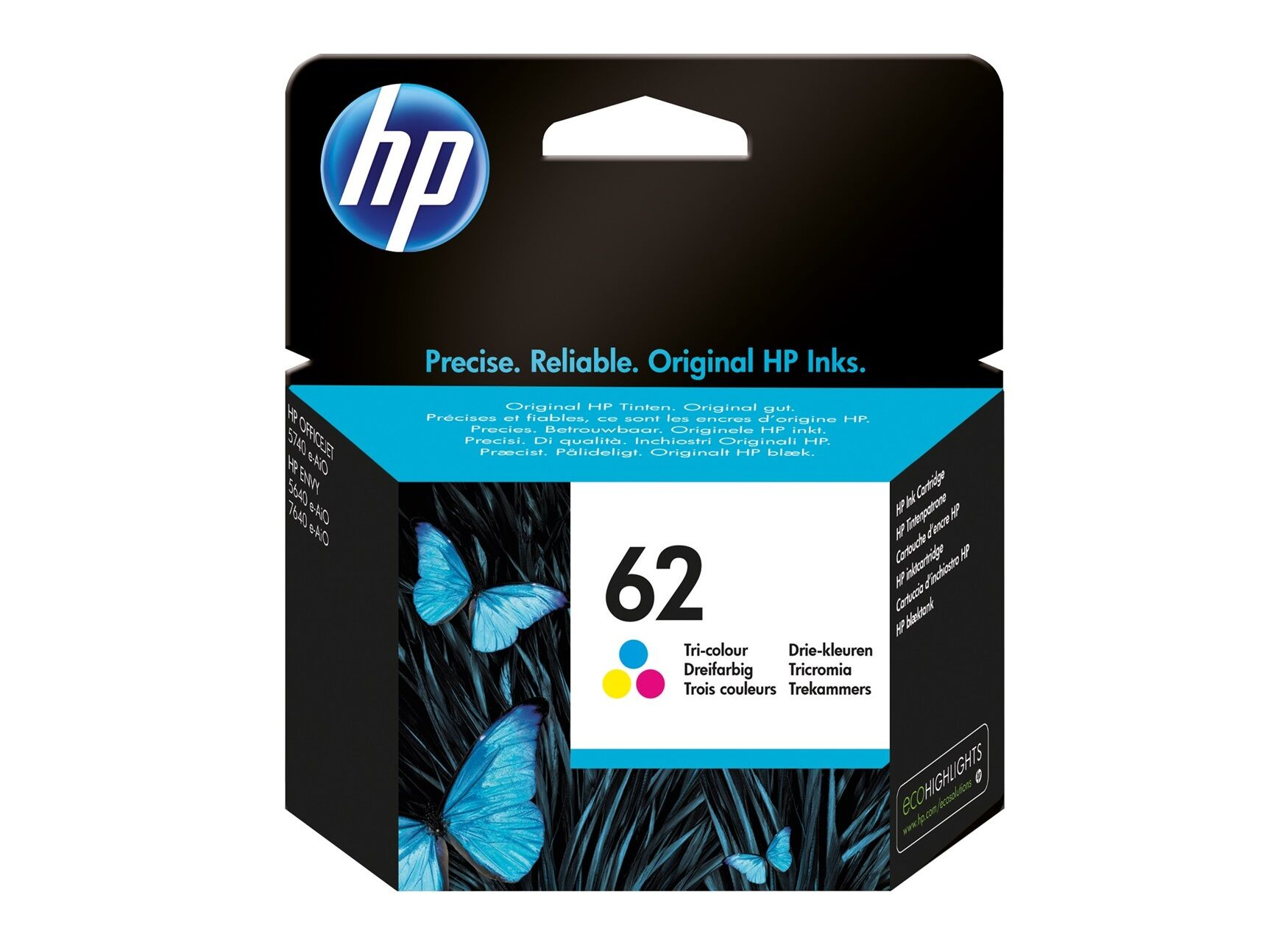 HP 62 - cyan, magenta, jaune - cartouche d'encre originale