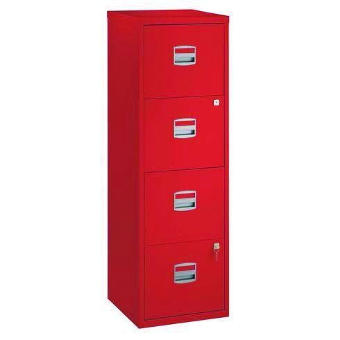Classeur métallique monobloc - 4 tiroirs - H130 x L41 x P40 cm - rouge
