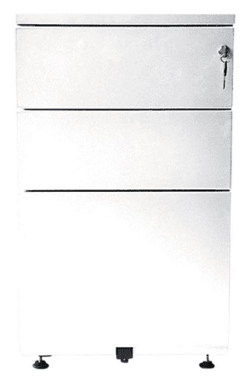 Caisson bout de bureau - 3 tiroirs - 69 x 41,6 x 74,6 cm - blanc