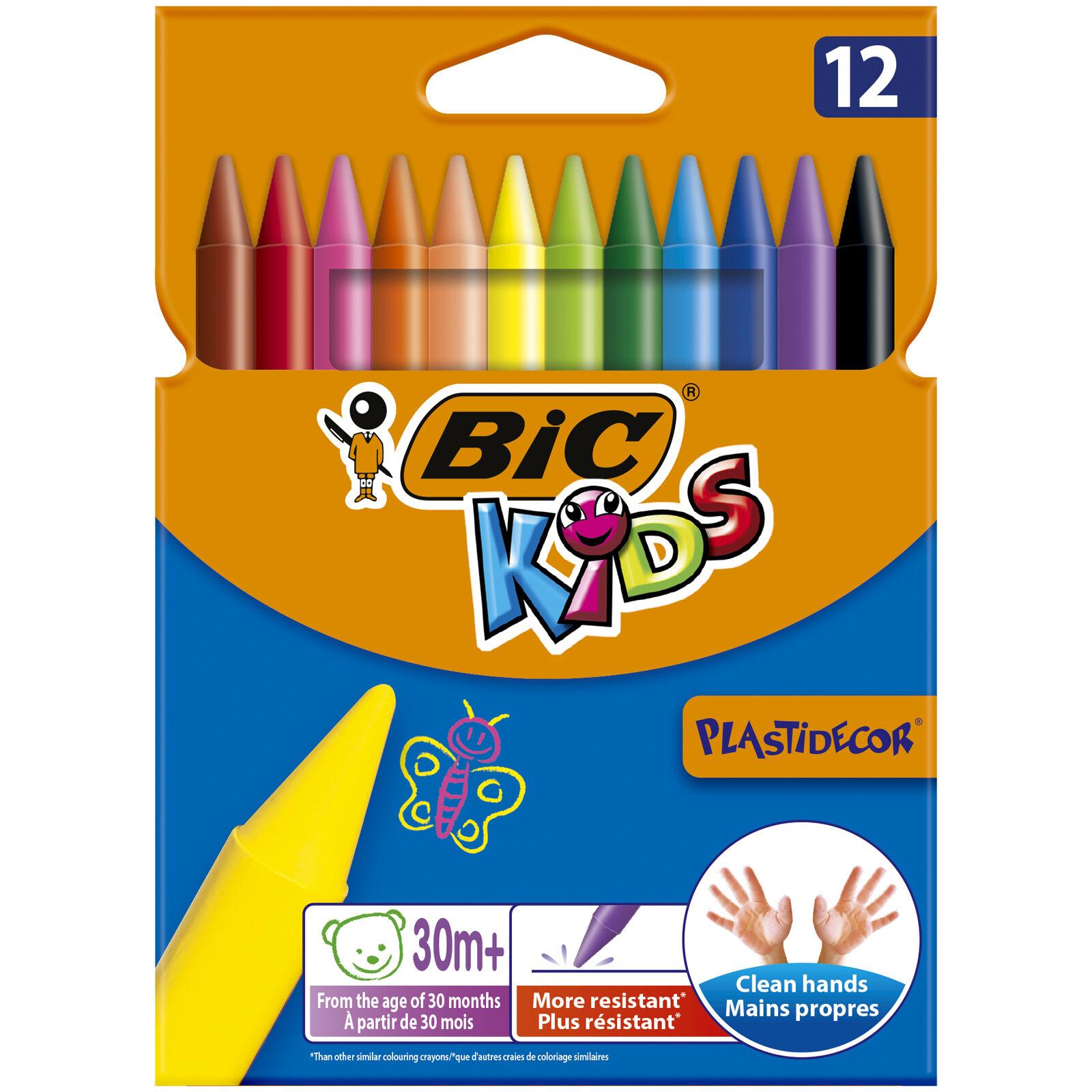BIC Kids Plastidecor - 12 craies de coloriage à la cire - couleurs vives