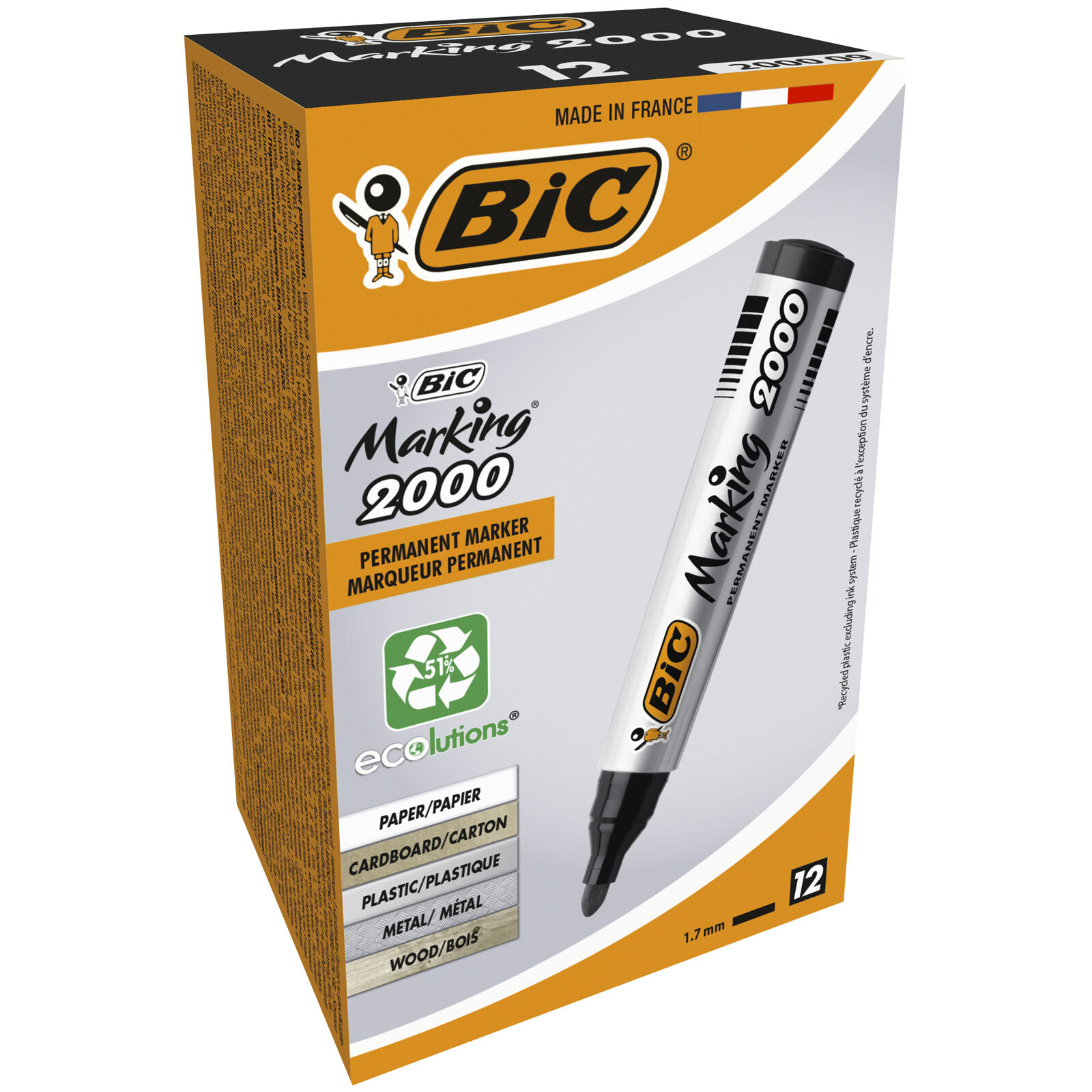 BIC MARKING 2000 - Pack de 12 - Marqueurs permanents - pointe ogive - noir