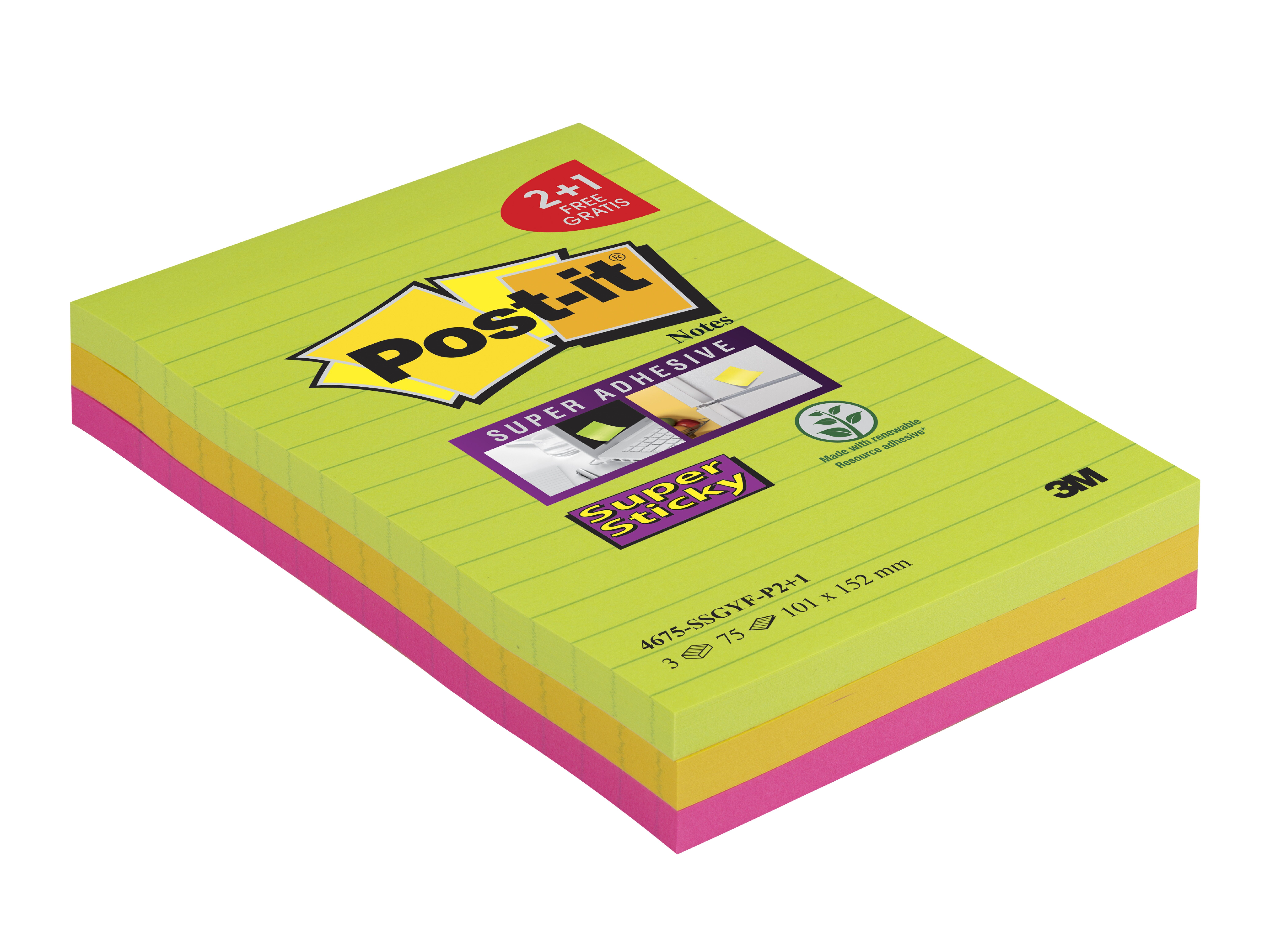 Post-it - 3 Blocs notes Super Sticky - grand format