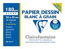 Clairefontaine fine arts - Pochette papier à dessin - 180 Gr - A4+ - Blanc