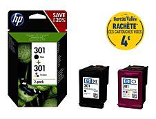 HP 301 - Pack de 2 - noir, cyan, magenta, jaune - cartouche d'encre originale