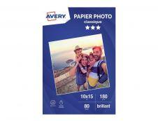 Avery - 80 Feuilles de Papier Photo 180g/m² - 10 x 15mm - Impression Jet d'encre - Brillant