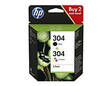 HP 304 - pack de 2 - noir, couleurs (cyan, magenta, jaune) - cartouche d'encre originale