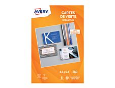 Avery - 40 Cartes de Visite blanches à Bords Lisses - 85 x 54mm - Impression Jet d'encre - Brillant au recto