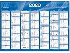 Quo Vadis Selection - calendrier de banque - 2020 - 7 mois par face - 430 x 335 mm - bleu