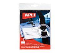 APLI - 5 Portes-badge de nom - pour 90 x 56 mm - lacet