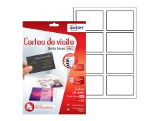 Avery - 80 Cartes de Visite blanches à Bords Lisses - 85 x 54mm - Impression Jet d'encre