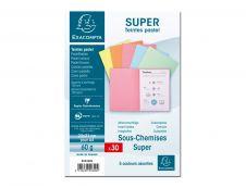 Exacompta SUPER 60 - 30 sous-chemises - A4 - pour 100 feuilles - assortis pastel