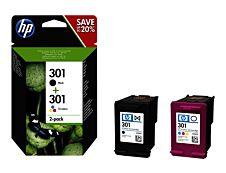HP 301 - Pack de 2 - noir, couleurs (cyan, magenta, jaune) - cartouche d'encre originale