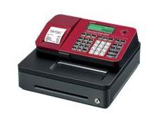 Casio SE-S100 - Caisse enregistreuse - 2000 PLU - certifié loi fiscale 2018 - Tiroir : 5 pièces et 3 billets - rouge
