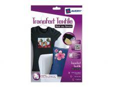Avery - 4 Papiers Transferts T shirt/Textile Noirs ou FoncEs - A4 - Jet d'encre