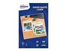 Avery - 50 Feuilles de Papier Photo Premium - A4 - 200g/m² - Impression Laser - Satiné Recto/Verso