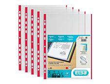 ELBA - 10 Pochettes perforées - A4 - pour 12 feuilles - 9/100 - Rouge