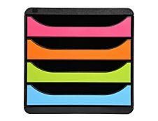 Exacompta BIG-BOX Classic - Bloc de classement 4 tiroirs - Noir/Arlequin