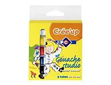 JPC Crée'up - Peinture - 5 gouaches - noir, blanc, jaune primaire, bleu primaire, rouge  - 12 ml