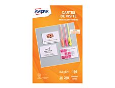 Avery - 250 Cartes de Visite blanches à Bords Micro Perforés - 85 x 54mm - Impression Jet d'encre