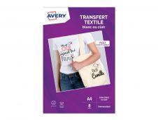 Avery - 8 Papiers Transferts T shirt/Textile Blancs ou Clairs - A4 - Impression Jet d'encre