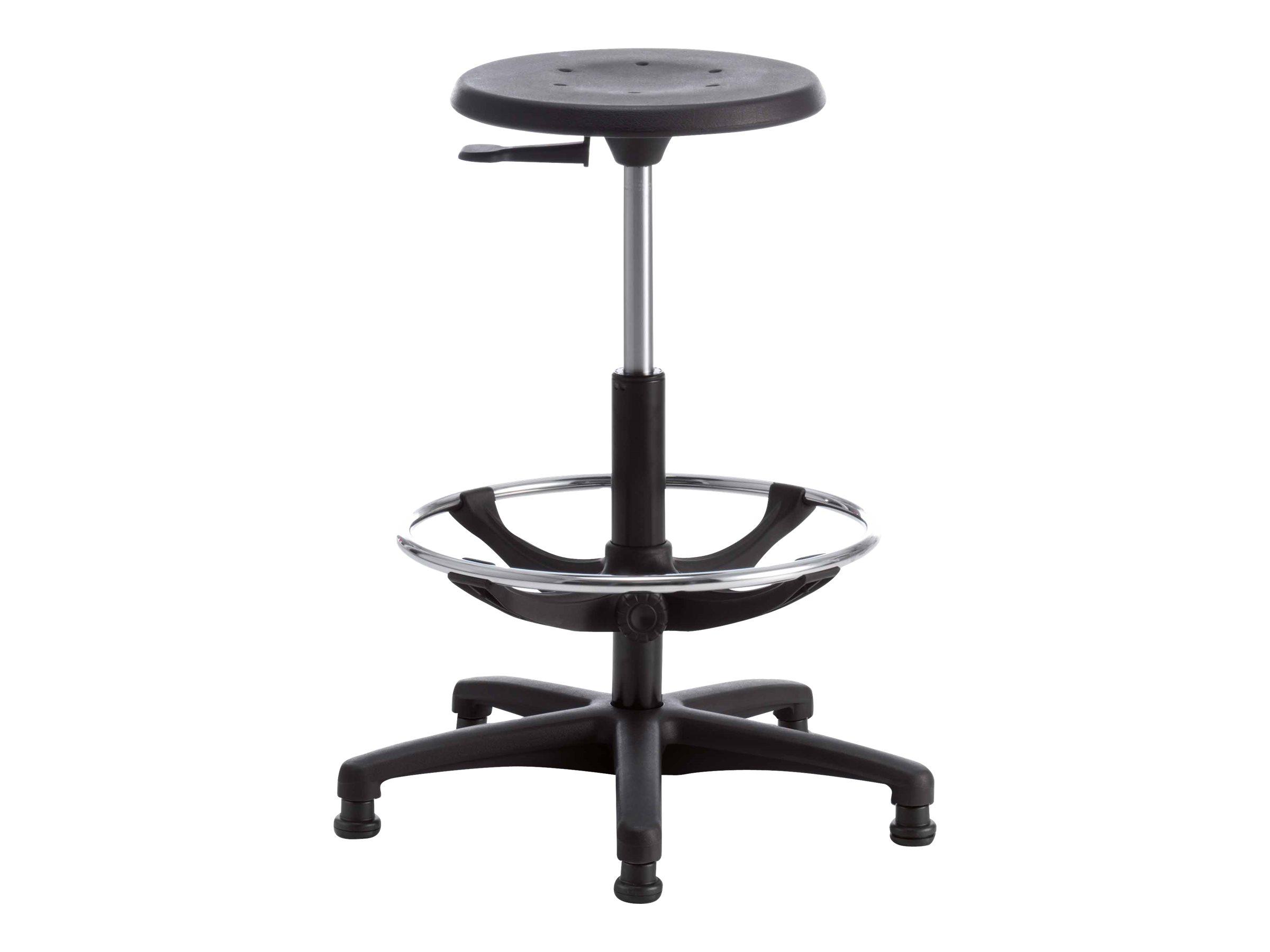 Siege technique TECNIK - tabouret assis-debout - hauteur réglable jusqu'à 75 cm - repose-pieds réglable - Noir