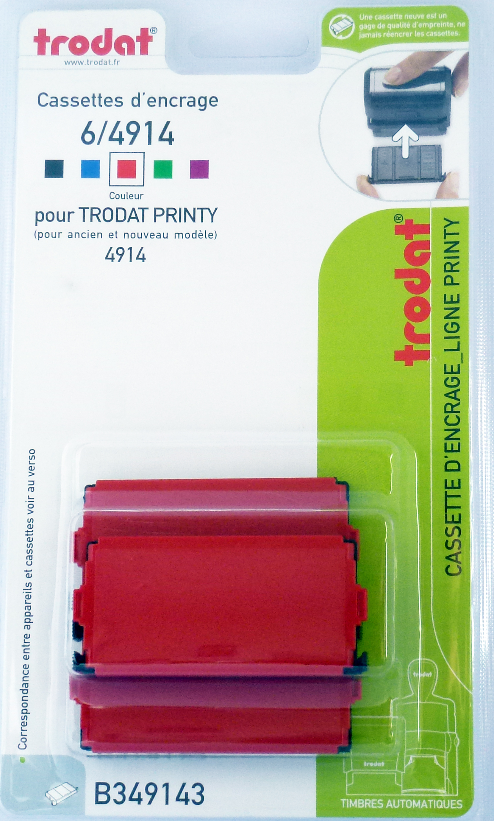 Trodat - 3 Encriers 6/4914 recharges pour tampon Printy 4914 - rouge
