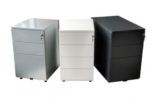Caisson bout de bureau - 3 tiroirs - 69 x 41,6 x 74,6 cm - noir