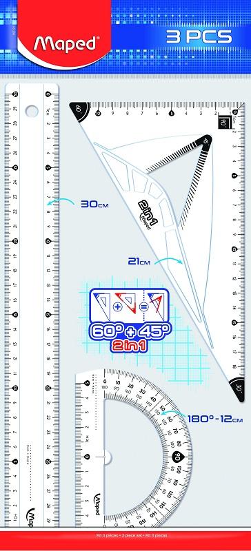 Maped - Kit de traçage 3 pièces : règle 30 cm, équerre 2 en 1, rapporteur 180°