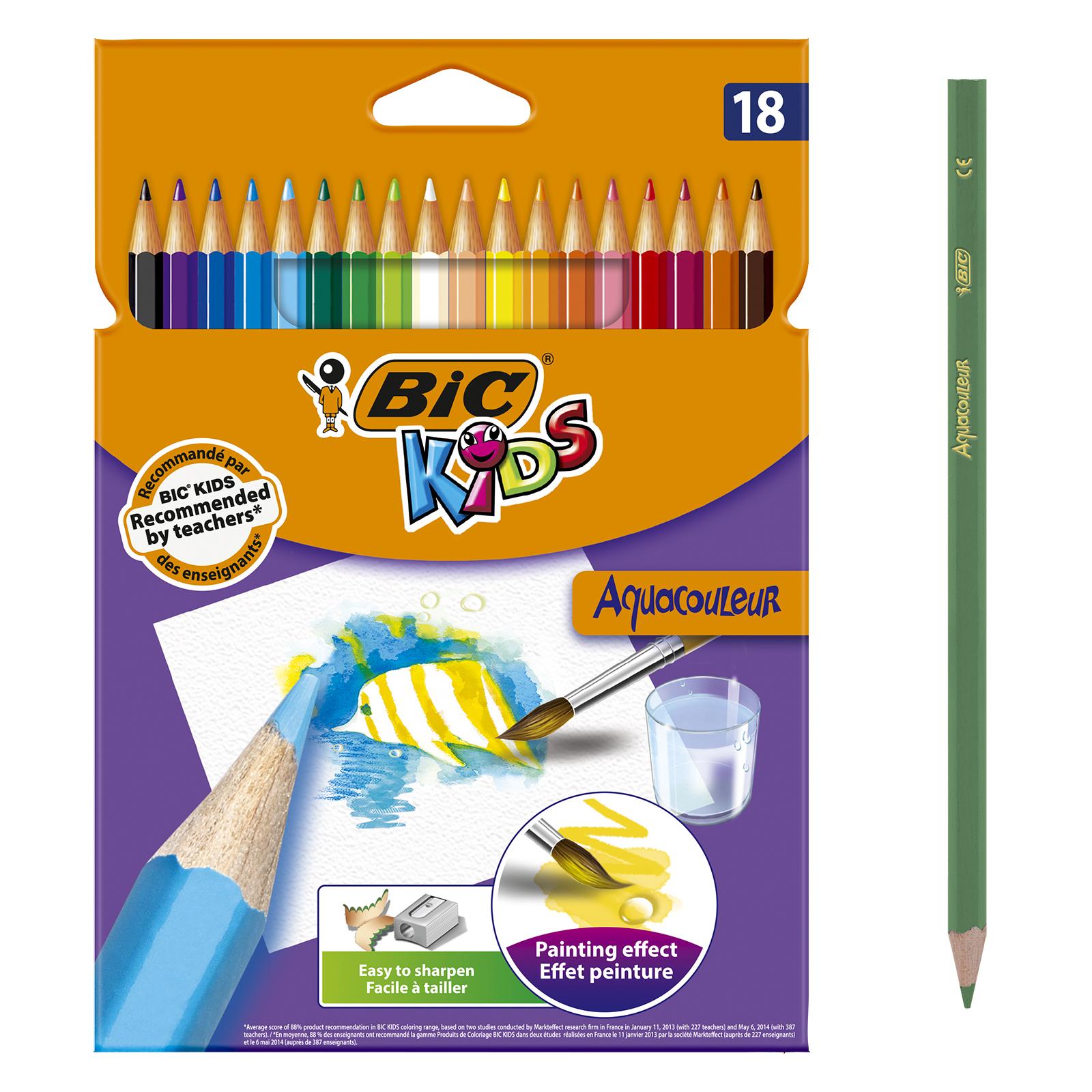 BIC Kids Aquacouleur - 18 Crayons de couleur aquarellables
