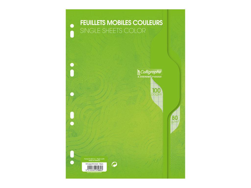 Calligraphe - 100 feuilles simples vert grands carreaux A4 perforées