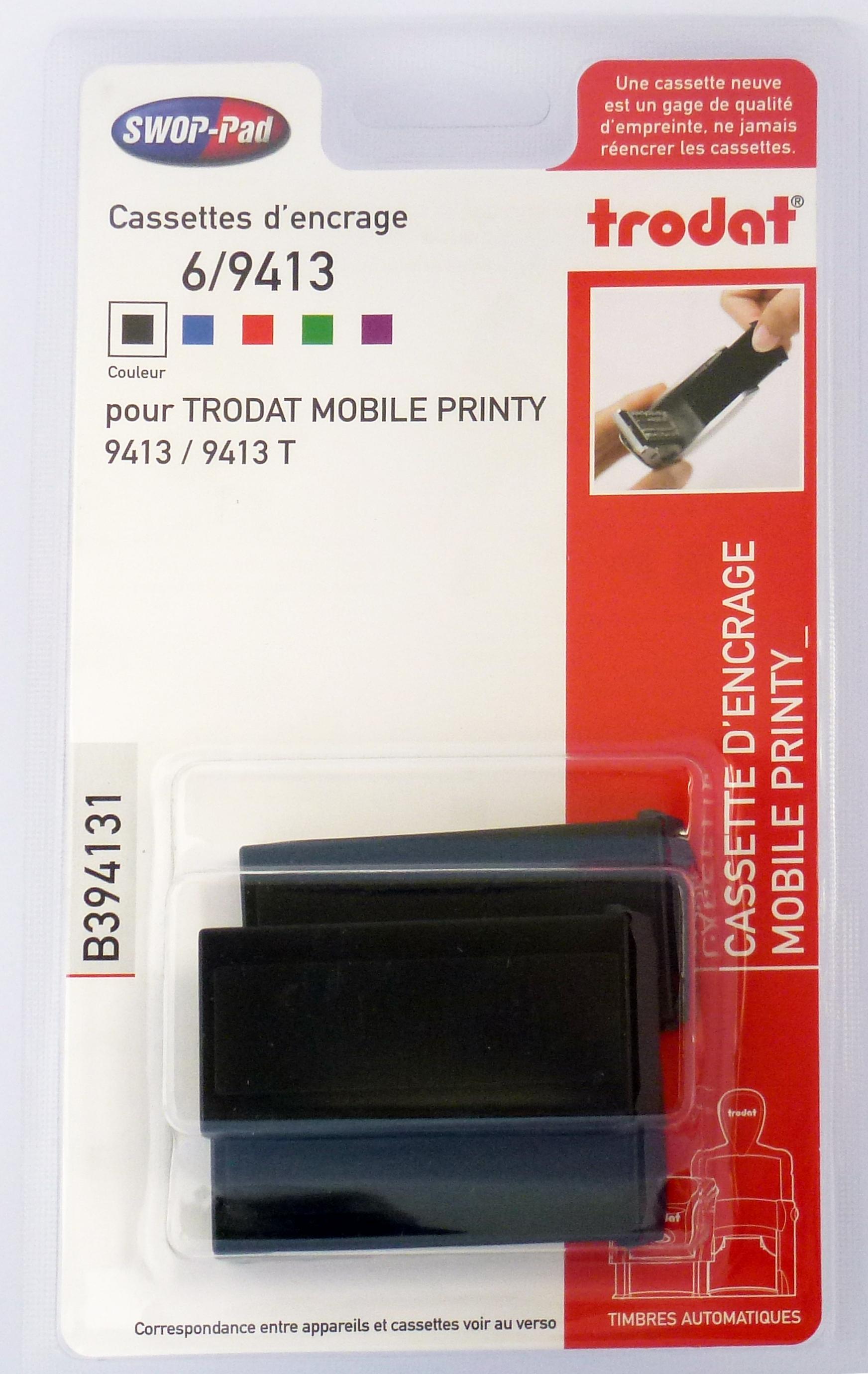 Trodat - 3 Encriers 6/9413 recharges pour tampon Mobile Printy 9413 - noir